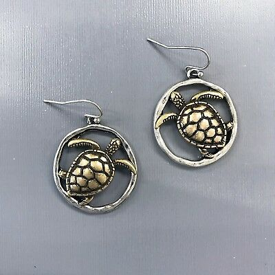 Silver Circle Shape Gold Turtle Design Sea Life Style Drop Dangle Earrings