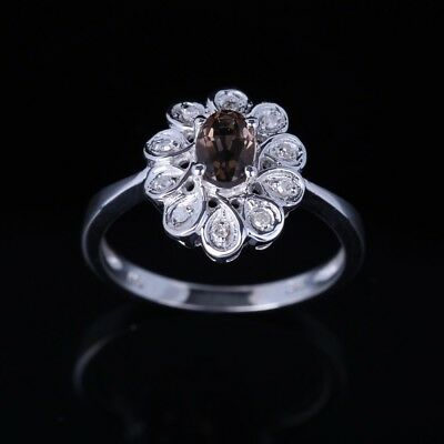 6x4mm Oval Smokey Quartz 10K White Gold Real H Diamond Fine Jewelry Wedding Ring