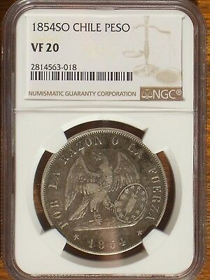 1854 SO Chile Peso NGC VF 20