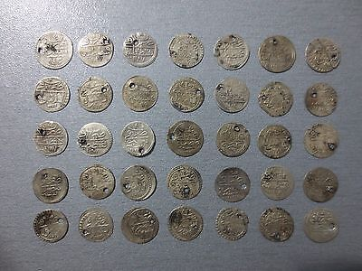 LOT of 35pcs QUALITY SILVER OTTOMAN TURKISH TURKEY ISLAMIC AKCE COINS RARE