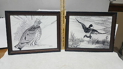 "(2) Vintage 11"" X 9"" Framed & Signed Black & White  Bird Prints /  Duck & Quail"