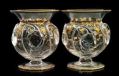 Thomas Web Pair Of Crystal Glass Posy Vases