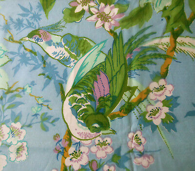 Vintage Tree of Life Floral Bird Polished Cotton Fabric~Aqua Blue Green Lavender