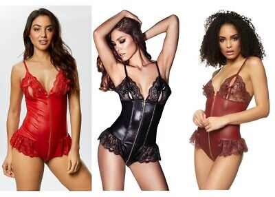 Ann Summers Tasha Crotchless Teddy, Black or Burgundy *NEW*RRP£28 PU lace