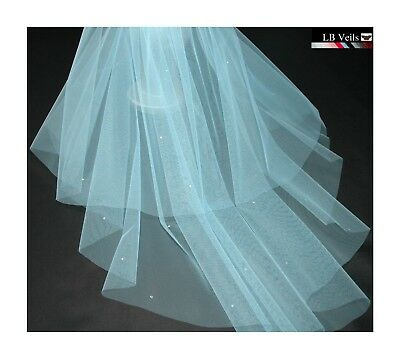Blue Veil Crystal Wedding Any Length 2 Tier Sparkle Long Elbow LBV151 LBVeils UK