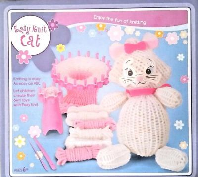 Childrens Easy Knit Set Stuffed Soft Toy loom Cat knitting Craft Kit