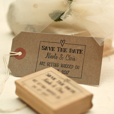 Personalised  Save The Date  wedding stamp / frame heart design