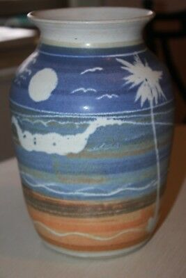 Stokes Holley Hill ? Pottery stoneware LARGE Vase Palm Trees Beach Scene
