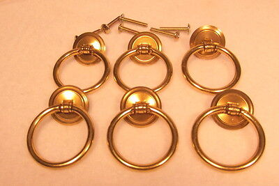 Set of 6 Brass Vintage Style Ring Pulls