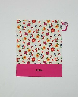 Free Name Flower All Over Cream Personalised Embroidery Library Bag Kinder Fd
