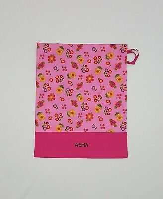 Free Name Flower All Over Pink Personalised Embroidery Library Bag Kinder Fd