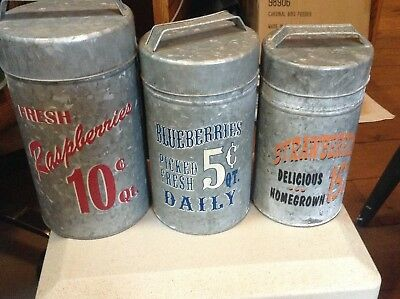 Retro Nesting Kitchen/Pantry Canister Tins Country Theme