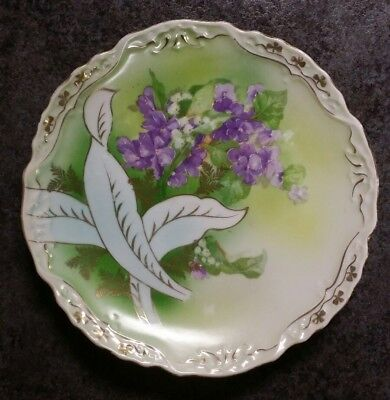 Antique Three Crown China Germany 9 inch Green Plate Violet white Flowers -b9
