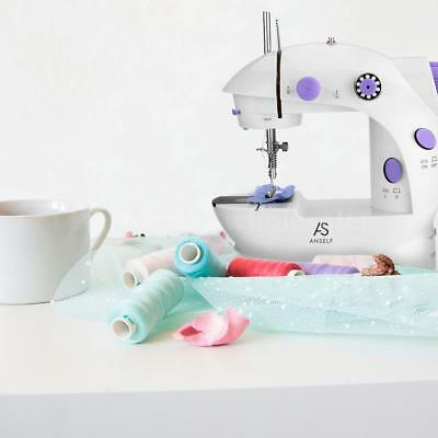 Anself Mini Household Purple Electric Sewing Machine Two Speeds Switchable E6Y6