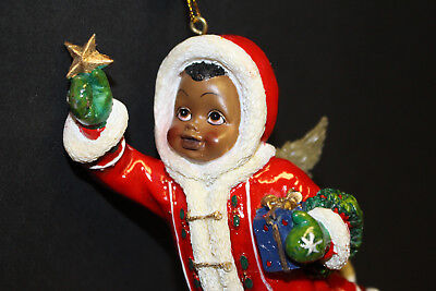"""2004 Youngs Holiday Gifts African American 4"""" Santa Angle Ornament Figurine"""