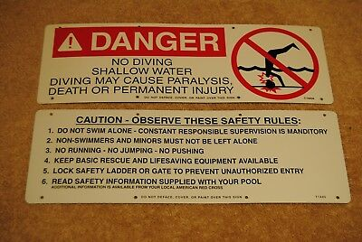2 Old Aluminum Swimming Pool Safety Signs Danger No Diving Caution Safety Rules
