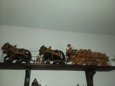 Vintage Budweiser clydesdale 4 horse hitch