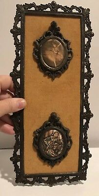 French Ornate Metal Double Oval Picture Frame Made In Italy Ballerina Vintage