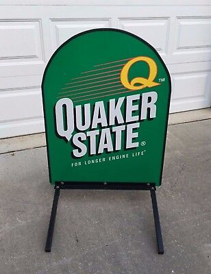 Quaker State Tombstone Sidewalk Double Sided Sign Garage Dealer Oil Sign
