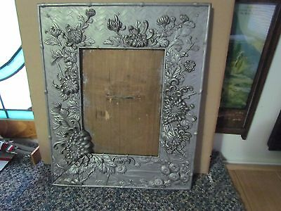 Beautiful Antique Picture Floral Design Looks Like Cast Brass Painted Silver