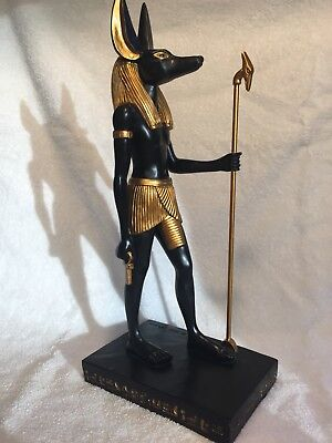 "16"" Large Anubis Egyptian God of The Afterlife Golden Jackal Statue Figurine"