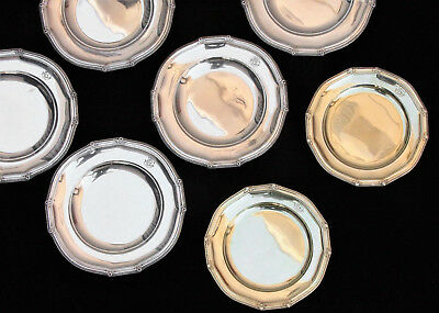 19th Century French 950 Silver Dish Set of 14 plates, Henin & Cie, 2 Gold Wash
