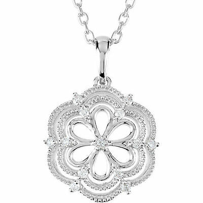 Genuine Diamonds Flower Pendant Chain Necklace in Polished 925 Sterling Silver