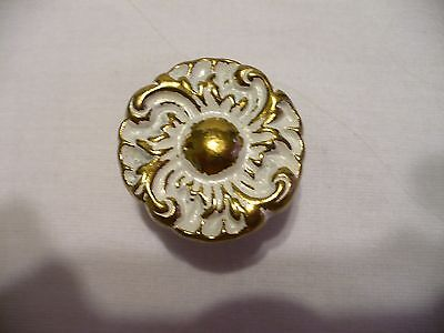 "Vtg BELWITH N4294 White Washed Brass 1 3/16"" Knob Cabinet Door Drawer Pull JAPAN"