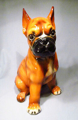 """Hand Painted Ceramic Italy Large 13"""" Life-Size Boxer Puppy Dog Figurine"""