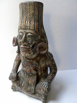 "19"" Mexican Folk Art Pre Columbian Style Mayan Warrior God Clay Pottery Figure"