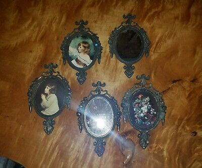 vintage ornate black brass black metal oval picture mirror set 5 piece Italy euc
