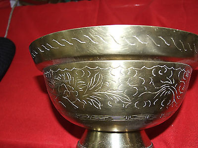 Antique Brass Oriental Bowl w Engraved Dragon w Chinese  Stamp C1920