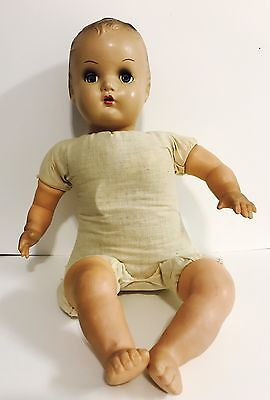 """Antique Horsman Composition Cloth 18"""" Doll open mouth, Sleepy Eyes w/Lashes"""