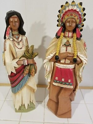 wood Native American Hand carved and painted statues