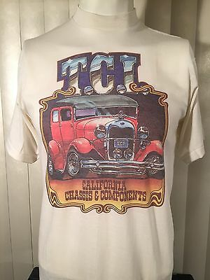 Vintage 70s New TCI California Chassis Components Antique Car T-Shirt L Thin NOS