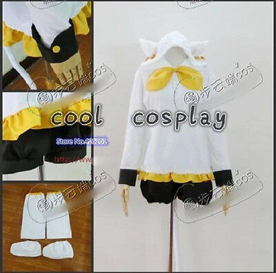 VOCALOID Kagamine Rin Cosplay Costume White Custom Made Anime Cat Style Hoodie U