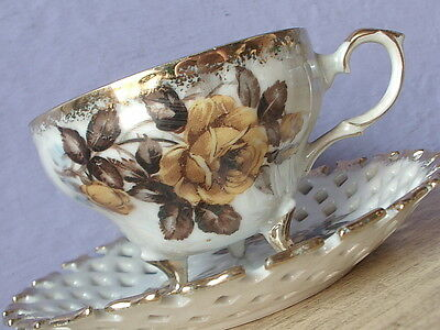 Vintage Napco Japanese iridescent porcelain yellow rose footed tea cup teacup