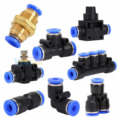 Pneumatic Push-In Fitting Air Valve Water Hose Tube Pipe Connector Joiner wtt