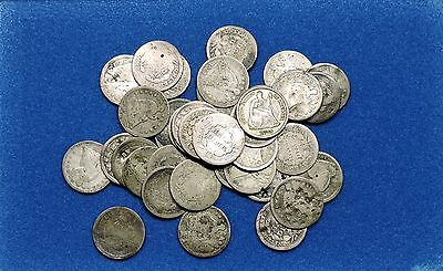 Silver Half Dime Lot of 40 Capped and Seated Liberty Half dimes 5c 1832-1891