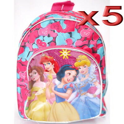 5pc Wholesale Bulk Lots Kids Children Girls Disney Princess Small Backpack Bags