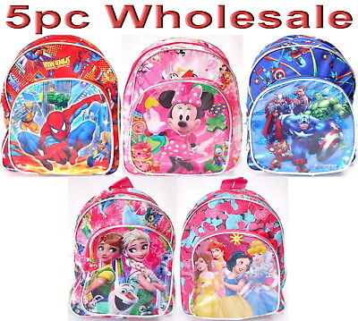5pc Wholesale Kids Frozen Minnie Spiderman Avengers Small Backpack Bags Mixed