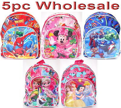 6pc Wholesale Kids Frozen Minnie Spiderman Paw Patrol Small Backpack Bags Mixed
