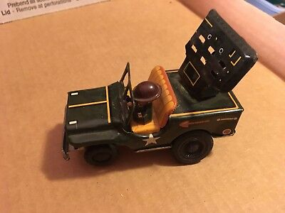 Antique Tin US Army Toy Jeep with Soldiers
