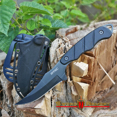 "9"" Fixed Blade Tactical Hunting Knife Black Blade with Paddle ABS Holster Sheath"