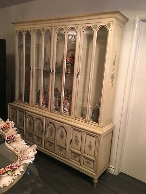 Vintage Italian Curio Hutch China Cabinet Display French Provincial