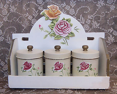 ~ set of 3~Vintage Shabby French CHIC ROSE CANISTERS UNIQUE LARGE SPiCE RACK