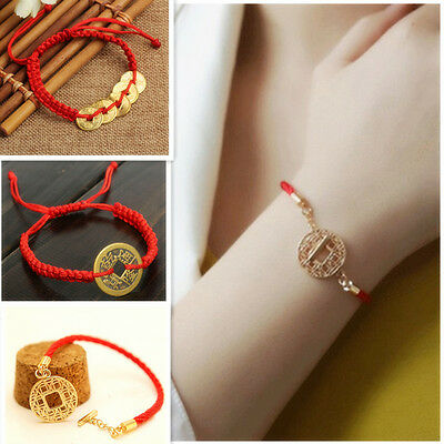 Chinese Lucky Red Thread Good Luck Coin Rope Feng Shui Bracelet Uni 8 Styles
