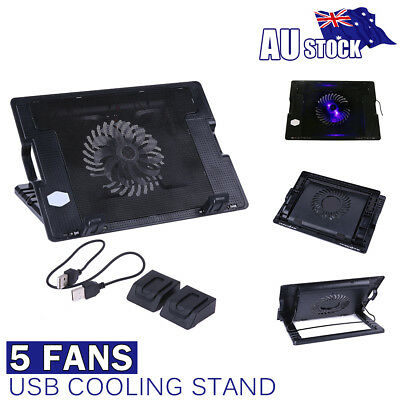 AU Fans LED 2 USB Port Cooling Stand Pad Cooler For Notebook 14''-17'' PC Laptop