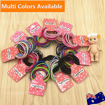 Premium 100 x Kids Girls Elastic School Hair Tie/Hair Band For Ponytail