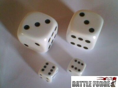 2 LARGE D6 SPOT DICE BOARD GAMES LEARNING D&D 22mm Opaque White